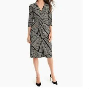 J.CREW SILK TWIST-FRONT DRESS IN KALEIDOSCOPIC DOT